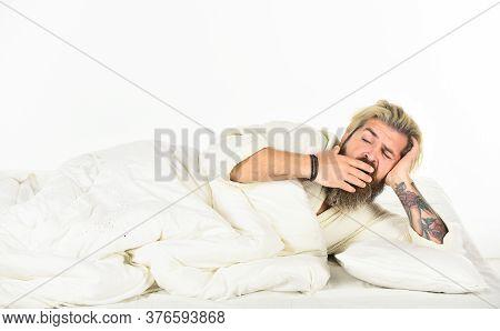 Nap And Sleep. Man Sleepy Face Lies On Pillow. Interrupted Sleep. Sleep Concept. Regularly Sleeping