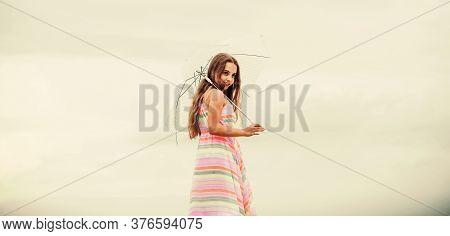 Happy Childhood. Feeling Light. Girl With Light Umbrella. Anti Gravitation. Fly Drop Parachute. Drea