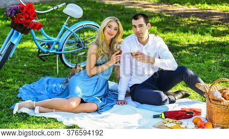 True Love. Cute Couple Drinking Wine. Couple Drinking Wine Sunny Day. Together Forever. Romance Conc
