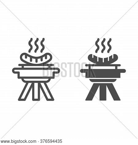 Bbq And Grilled Sausages Line And Solid Icon, Picnic Concept, Barbecue With Hot Sausages Sign On Whi