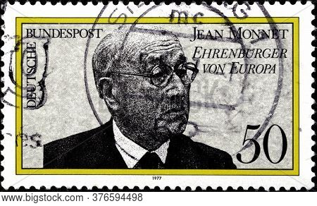 02 09 2020 Divnoe Stavropol Territory Russia The Postage Stamp Germany 1977 The Politician Jean Monn