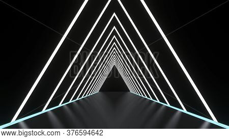 Abstract Background Glowing Lines Tunnel, Neon Lights, Triangular Portal. White Color. 3d Rendering