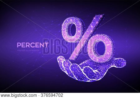 Percent Sign. 3d Low Polygonal Abstract Percent Symbol In Hand. Business Concept Of Banking, Calcula