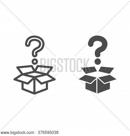 Question And Box Line And Solid Icon, Delivery Concept, Carton Box With Question Mark Sign On White