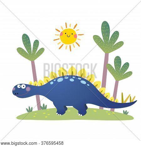 Vector Illustration Of Cartoon Stegosaurus Dinosaur On White Background.