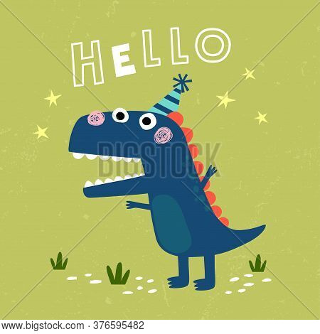 Vector Illustration Of Cute Tyrannosaurus Rex Dinosaur With Grunge Background. Cute Little T-rex Car