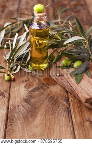 Green Olives In Tin Cans With Loaf Of Fresh Bread And Young Olives Branch , Bottle Of Olive Oil On C