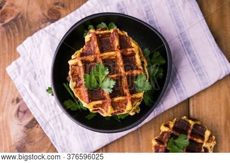 Waffles. Baking With Vegetables For A Healthy Diet. Dietary Food. Copy Space. Above