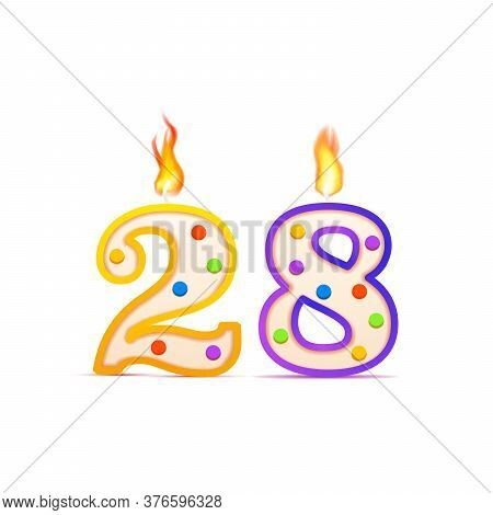 Twenty Eight Years Anniversary, 28 Number Shaped Birthday Candle With Fire On White