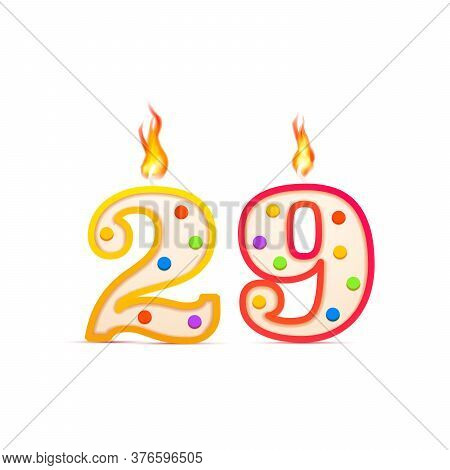 Twenty Nine Years Anniversary, 29 Number Shaped Birthday Candle With Fire On White