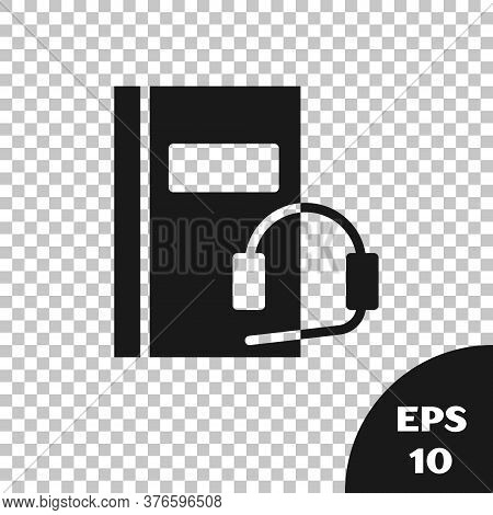 Black Audio Book Icon Isolated On Transparent Background. Book With Headphones. Audio Guide Sign. On