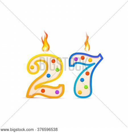 Twenty Seven Years Anniversary, 27 Number Shaped Birthday Candle With Fire On White