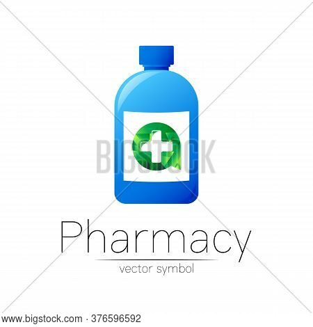 Pharmacy Vector Symbol With Blue Bottle And Cross In Green Circle For Pharmacist, Pharma Store, Doct