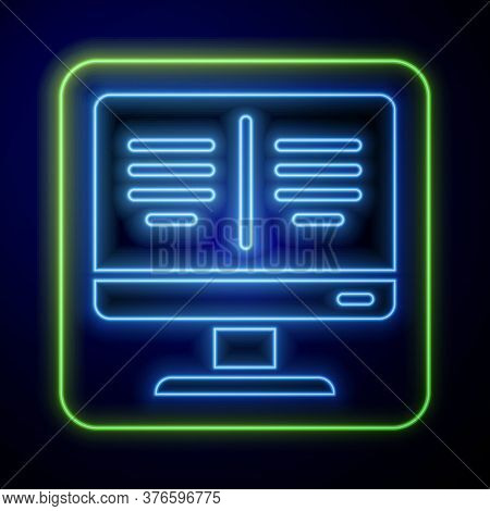 Glowing Neon Online Book On Monitor Icon Isolated On Blue Background. Internet Education Concept, E-