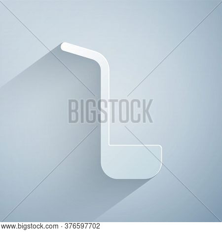 Paper Cut Kitchen Ladle Icon Isolated On Grey Background. Cooking Utensil. Cutlery Spoon Sign. Paper
