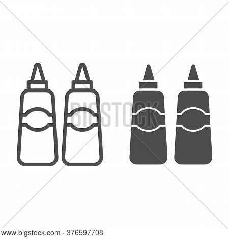 Sauce And Mustard Line And Solid Icon, Street Food Concept, Sauce Bottles Sign On White Background,