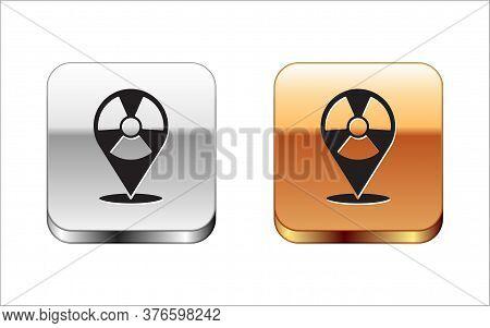Black Radioactive In Location Icon Isolated On White Background. Radioactive Toxic Symbol. Radiation