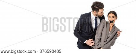 Website Header Of Businessman In Formal Wear Molesting Businesswoman With Scotch Tape On Mouth Isola