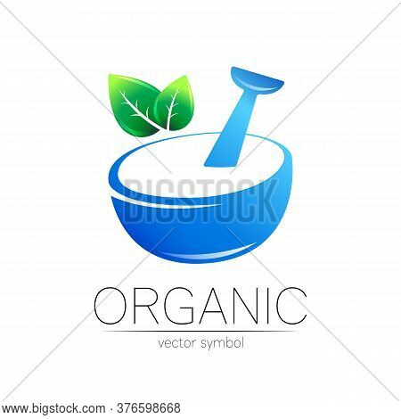 Vector Mortar And Pestle Blue Symbol Logo With Green Leaf. Ecology Icon Concept For Medicine, Vegeta