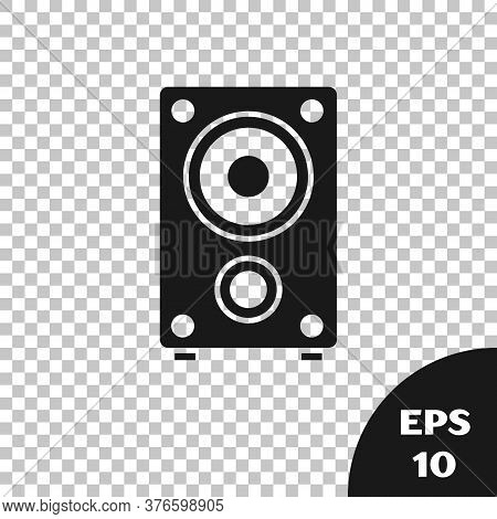 Black Stereo Speaker Icon Isolated On Transparent Background. Sound System Speakers. Music Icon. Mus