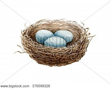 Bird Nest Watercolor Illustration. Cozy Spring Natural Bird House Of Straw And Branches With Blue Eg