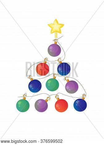 Stylized Christmas Tree Made Of Glowing Baubles And Decorated With A Star. Vector Illustration.