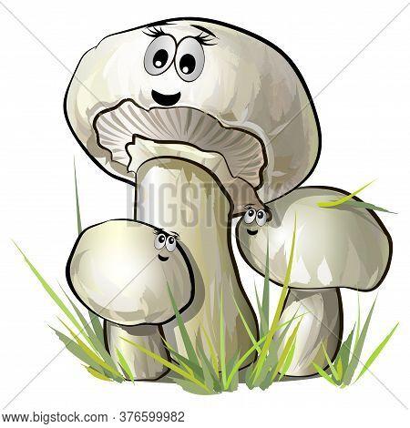 Mushrooms Champignon Illustration With Muzzles. Vector Illustration