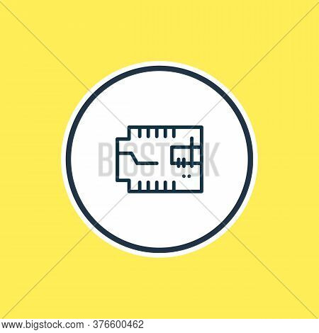 Vector Illustration Of Car Microcircuit Icon Line. Beautiful Car Element Also Can Be Used As Micropr