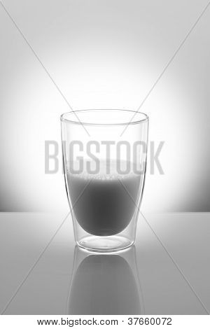 Glass Of Milk In Black And White
