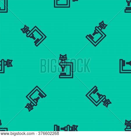 Blue Line Microscope Icon Isolated Seamless Pattern On Green Background. Chemistry, Pharmaceutical I