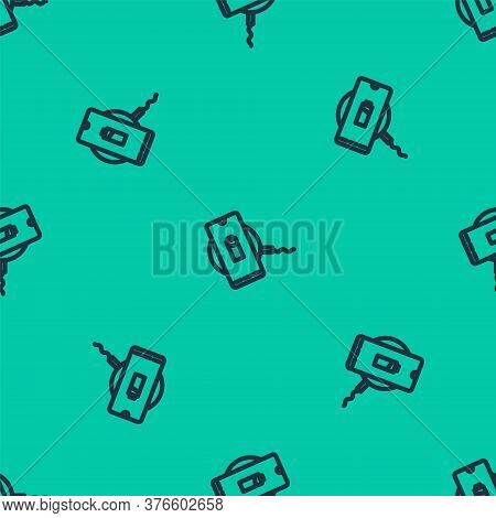 Blue Line Smartphone Charging On Wireless Charger Icon Isolated Seamless Pattern On Green Background