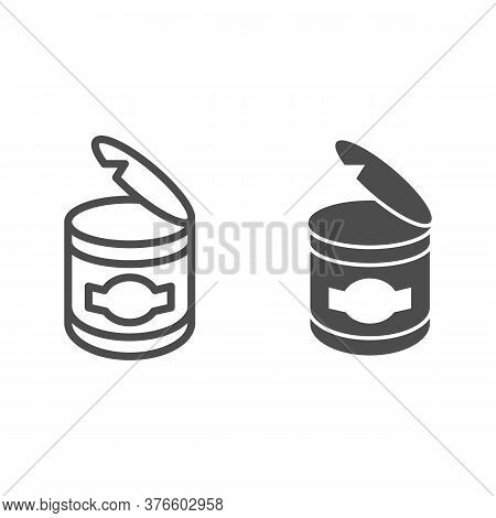 Canned Food Line And Solid Icon, Picnic Concept, Open Can Metal Container Sign On White Background,