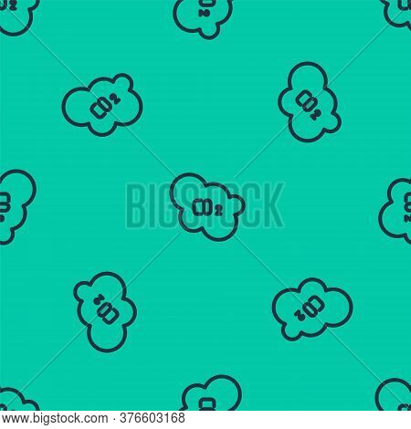 Blue Line Co2 Emissions In Cloud Icon Isolated Seamless Pattern On Green Background. Carbon Dioxide