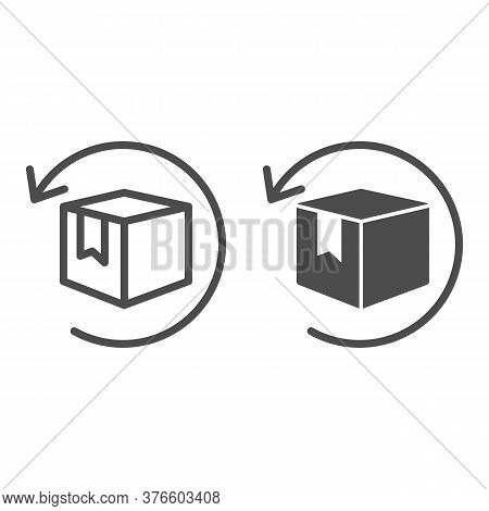 Box With Arrow Line And Solid Icon, Logistics Concept, Commodity Turnover Sign On White Background,