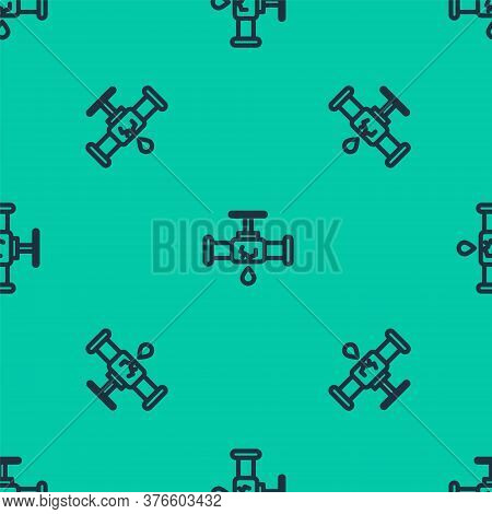 Blue Line Broken Metal Pipe With Leaking Water Icon Isolated Seamless Pattern On Green Background. V