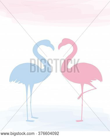 Two Charming Pink Flamingo In Love, Valentine Day Card.
