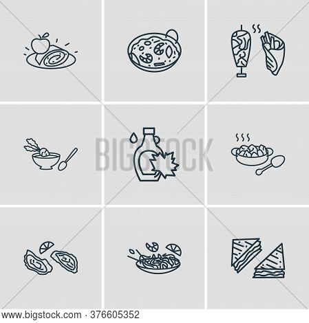 Vector Illustration Of 9 World Cuisine Icons Line Style. Editable Set Of Austrian Apfelstrudel, Pad