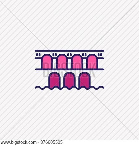Vector Illustration Of Pond Du Garre Icon Colored Line. Beautiful Culture Element Also Can Be Used A