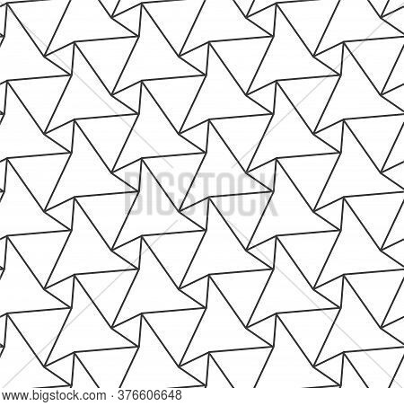 Continuous Ornament Vector Diagonal, Lattice Pattern. Repeat Abstract Graphic Triangular Texture Tex