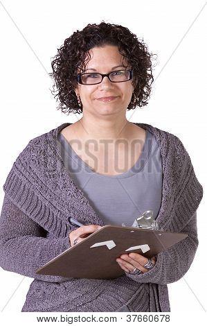 Beautiful Hispanic Woman With A Clipboard