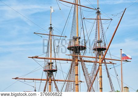 Sailing Mast Of Ship. Sailing Vessel Main Topgallant Mast With Crows Nest. Old Frigate Warship
