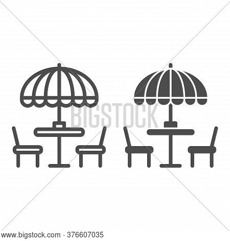 Chairs And Table With Umbrella Line And Solid Icon, Street Food Concept, Outdoor Table With Umbrella