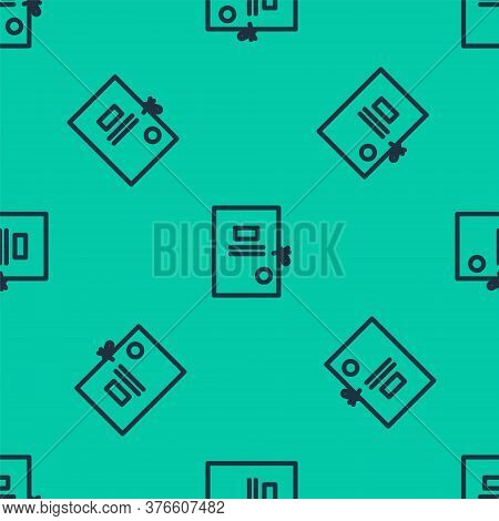 Blue Line Lawsuit Paper Icon Isolated Seamless Pattern On Green Background. Vector Illustration