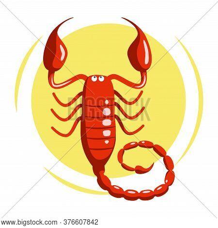 Colorful Zodiac Sign Scorpio Depicting Arthropod Animal. Illustration Of An Astrology Sign Scorpion.