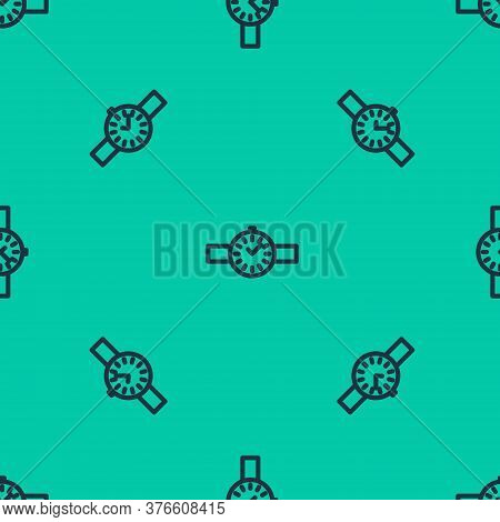 Blue Line Wrist Watch Icon Isolated Seamless Pattern On Green Background. Wristwatch Icon. Vector Il
