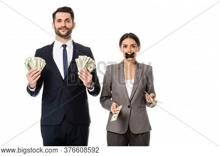 Happy Businessman Holding Dollars Near Businesswoman With Duct Tape On Mouth Isolated On White, Gend