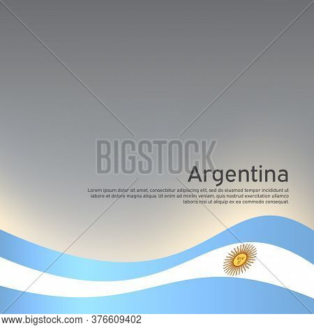 Abstract Waving Flag Of Argentina. Creative Background For Argentina Patriotic Holiday Card Design.