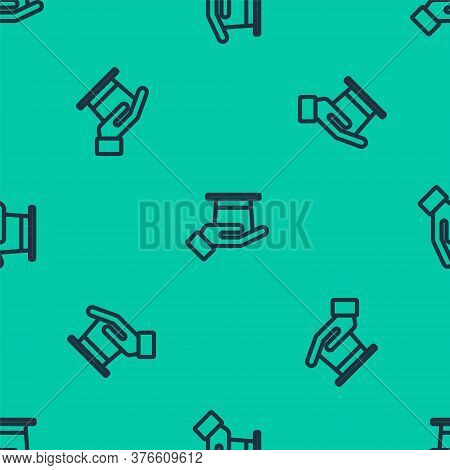 Blue Line Magician Hat In Hand Icon Isolated Seamless Pattern On Green Background. Magic Trick. Myst