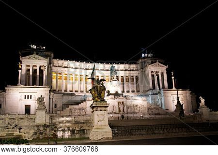 Vittorio Emanuele Monument At Night In Roma In Italy Europe