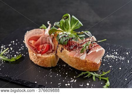 canape with meat  and vegetables